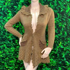 Roz&Ali wool cardigan M sweater jacket top knitted